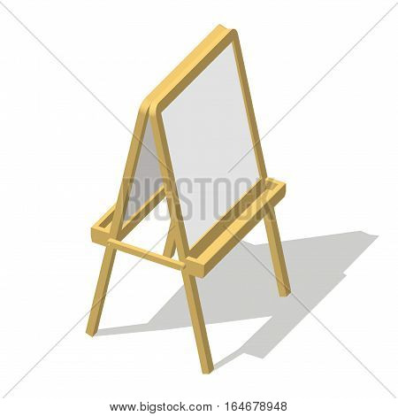 Isometric easel. Drawing Whiteboard. Paint desk and white paper isolated on white background. Vector illustration eps 10