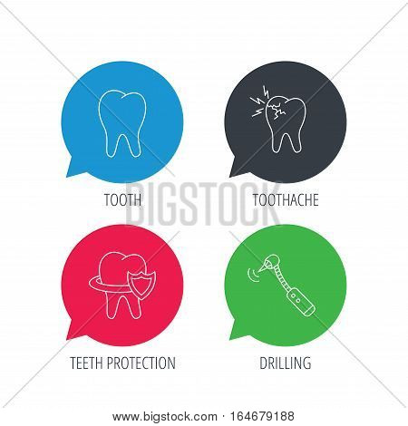 Colored speech bubbles. Tooth, toothache and drilling tool icons. Teeth protection linear sign. Flat web buttons with linear icons. Vector