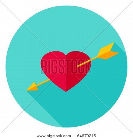 Arrow Pierced Heart Circle Icon. Flat Design Vector Illustration with Long Shadow. Happy Valentine Day Symbol.