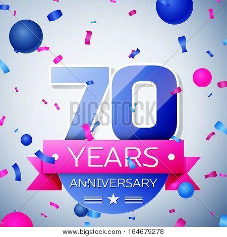 Seventy years anniversary celebration on grey background. Anniversary ribbon