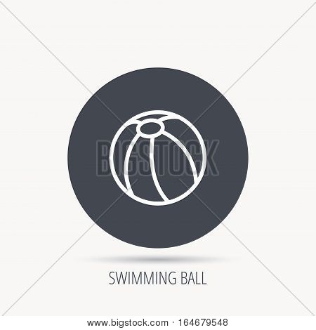 Swimming ball icon. Beach toy sign. Round web button with flat icon. Vector