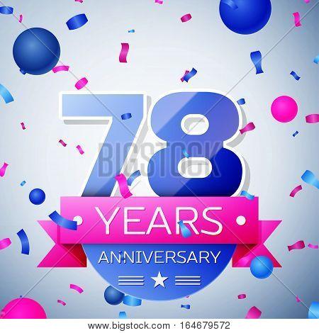 Seventy eight years anniversary celebration on grey background. Anniversary ribbon