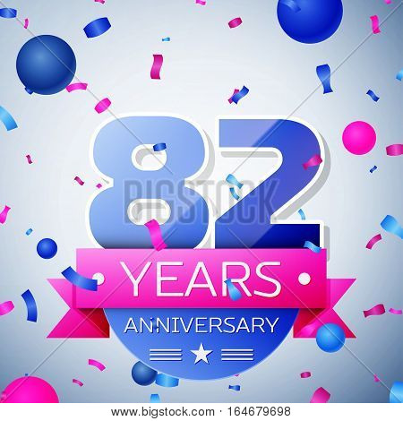 Eighty two years anniversary celebration on grey background. Anniversary ribbon