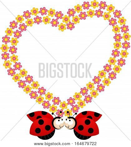 Scalable vectorial image representing a couple ladybirds with flower heart frame, isolated on white.