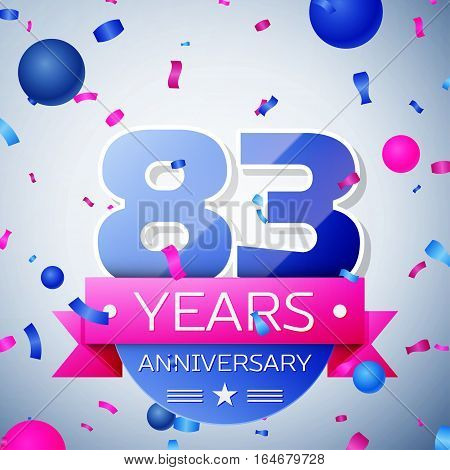 Eighty three years anniversary celebration on grey background. Anniversary ribbon