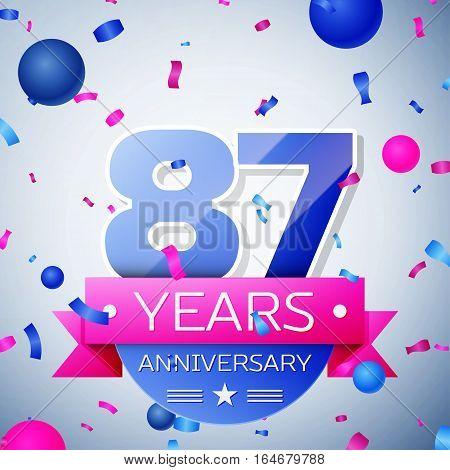 Eighty seven years anniversary celebration on grey background. Anniversary ribbon