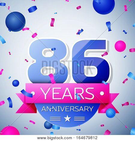 Eighty six years anniversary celebration on grey background. Anniversary ribbon