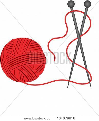 Scalable vectorial image representing a red ball knitting wool, isolated on white.
