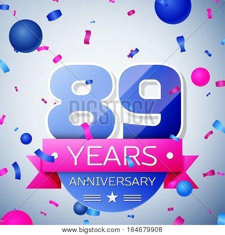 Eighty nine years anniversary celebration on grey background. Anniversary ribbon
