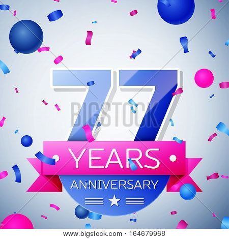 Seventy seven years anniversary celebration on grey background. Anniversary ribbon