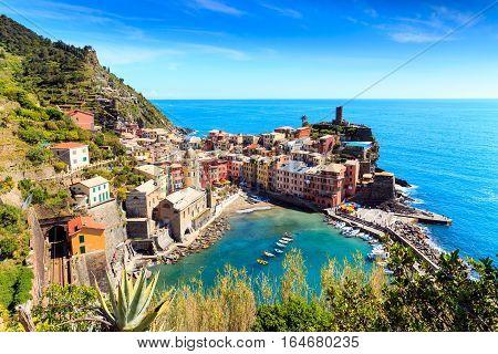 Vernazza Cinque Terre Italy With Railway