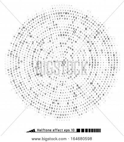 Vector. Halftone Pattern Effect. No Gradient. Spiral. Font Round