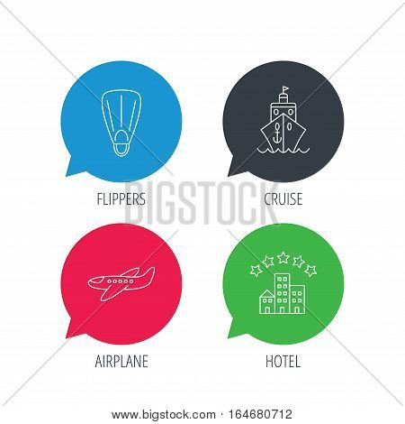Colored speech bubbles. Cruise, flippers and airplane icons. Hotel linear sign. Flat web buttons with linear icons. Vector