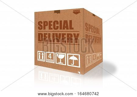 Special delivery text on a cardboard box 3d illustration