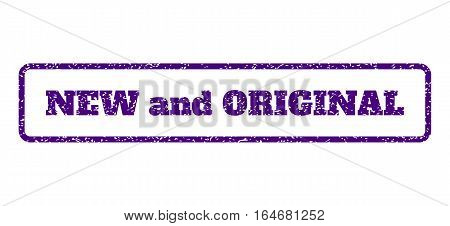 Indigo Blue rubber seal stamp with New and Original text. Vector message inside rounded rectangular banner. Grunge design and scratched texture for watermark labels.
