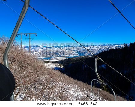Ski Lift And Mountains In Sundance