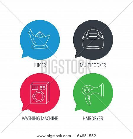 Colored speech bubbles. Washing machine, multicooker and hair dryer icons. Washing machine linear sign. Flat web buttons with linear icons. Vector