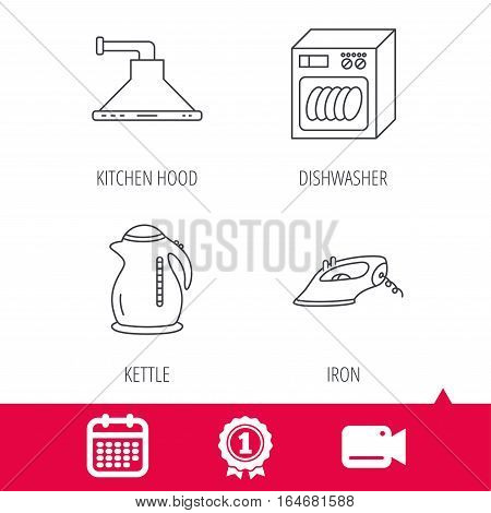 Achievement and video cam signs. Dishwasher, kettle and kitchen hood icons. Iron linear sign. Calendar icon. Vector