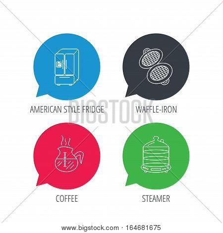 Colored speech bubbles. Waffle-iron, coffee and steamer icons. American style fridge linear signs. Flat web buttons with linear icons. Vector