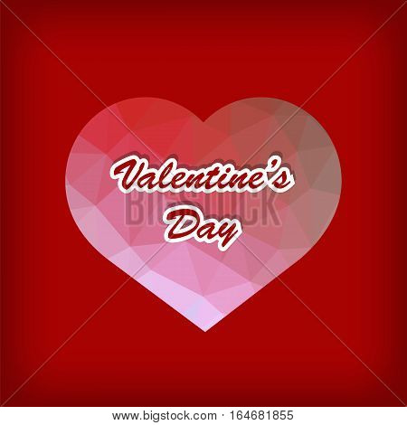 Valentines Day Romantic Banner with Polygonal Heart on Red Background.