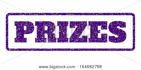 Indigo Blue rubber seal stamp with Prizes text. Vector tag inside rounded rectangular banner. Grunge design and dirty texture for watermark labels. Horisontal sign on a white background.