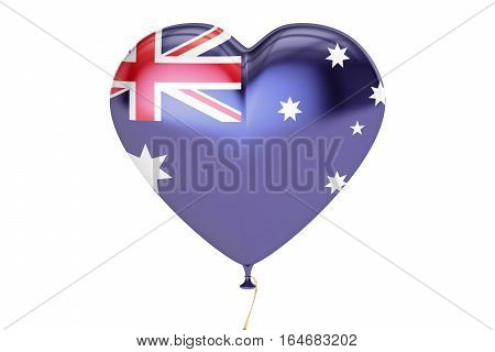 balloon with Australia flag in the shape of heart 3D rendering