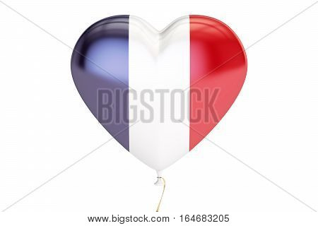 balloon with France flag in the shape of heart 3D rendering