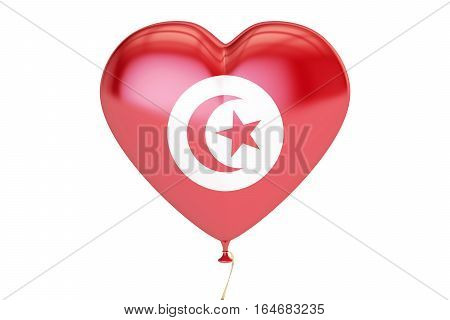 balloon with Tunis flag in the shape of heart 3D rendering
