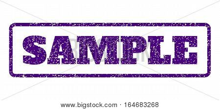 Indigo Blue rubber seal stamp with Sample text. Vector caption inside rounded rectangular shape. Grunge design and scratched texture for watermark labels. Horisontal sign on a white background.