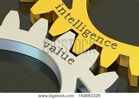 intelligence value concept on the gearwheels 3D rendering