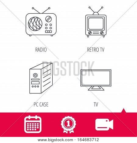 Achievement and video cam signs. TV, PC case and retro radio icons. Retro TV linear sign. Calendar icon. Vector
