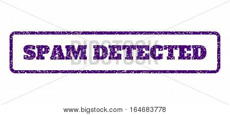 Indigo Blue rubber seal stamp with Spam Detected text. Vector caption inside rounded rectangular frame. Grunge design and scratched texture for watermark labels.