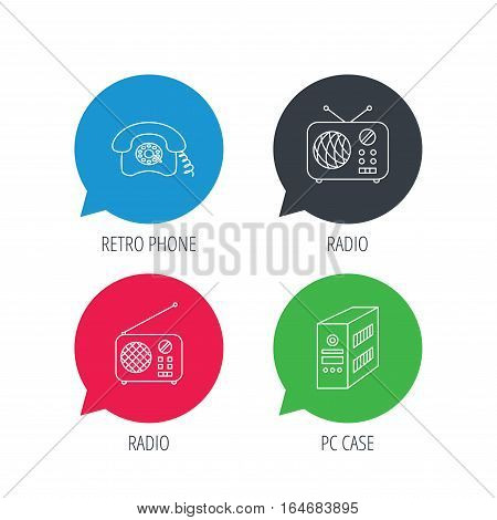 Colored speech bubbles. Radio, retro phone and pc case icons. Vintage radio linear sign. Flat web buttons with linear icons. Vector
