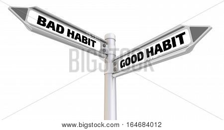 Bad and good habit. Road sign. Road sign with the words