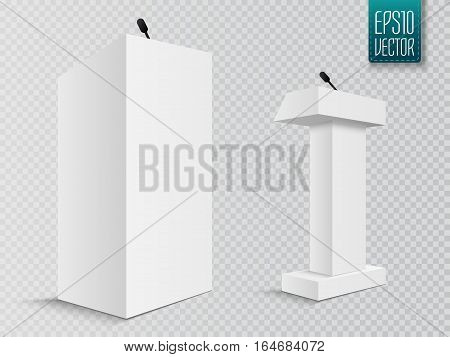 Vector White Podium Tribune Rostrum Stand with Microphones Isolated on white