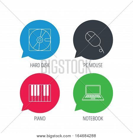 Colored speech bubbles. Hard disk, pc mouse and notebook laptop icons. Piano linear sign. Flat web buttons with linear icons. Vector