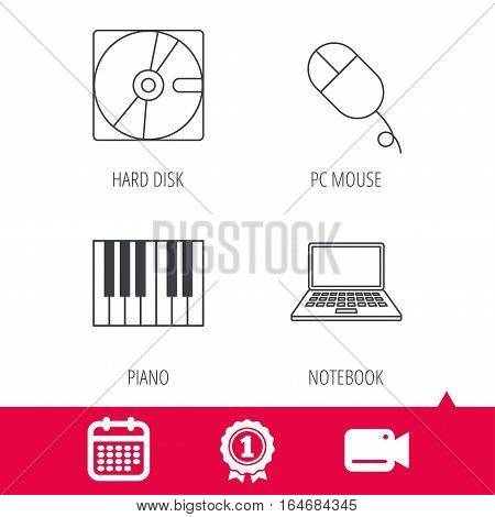 Achievement and video cam signs. Hard disk, pc mouse and notebook laptop icons. Piano linear sign. Calendar icon. Vector