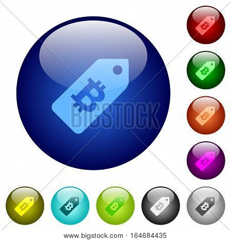 Bitcoin price label icons on round color glass buttons
