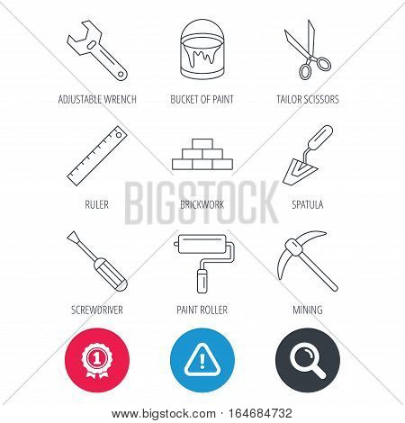 Achievement and search magnifier signs. Screwdriver, scissors and adjustable wrench icons. Spatula, mining tool and paint roller linear signs. Brickwork, ruler and painting icons. Vector
