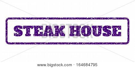 Indigo Blue rubber seal stamp with Steak House text. Vector message inside rounded rectangular frame. Grunge design and dirty texture for watermark labels. Horisontal sticker on a white background.