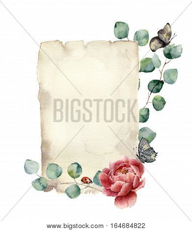 Watercolor spring card with eucalyptus, peony flower, butterfly and ladybug. Hand painted paper texture with insect and floral design isolated on white background. Illustration for design, print
