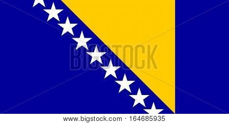 flat bosnia and hercegovina flag  in the colors blue, yellow and white