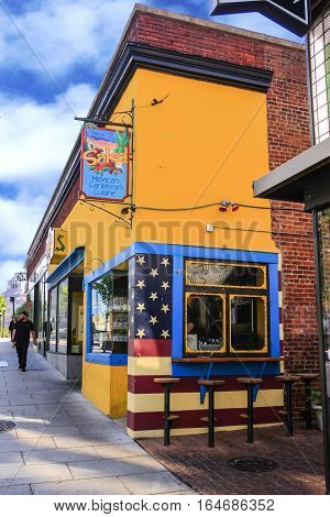 Asheville NC, USA - September 12: Salsa Mexican Caribbean Restaurant on Patton Ave in downtown Asheville NC