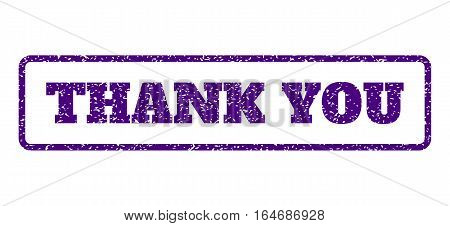 Indigo Blue rubber seal stamp with Thank You text. Vector message inside rounded rectangular banner. Grunge design and dirty texture for watermark labels. Horisontal sticker on a white background.