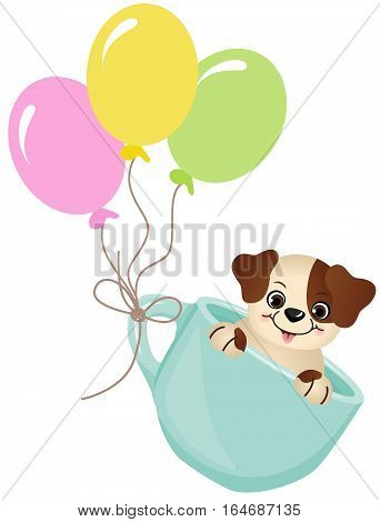 Scalable vectorial image representing a cute dog in teacup with balloons, isolated on white.