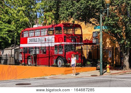 Asheville NC, USA - September 12: Double D's Bar out of a London red bus in downtown Asheville NC