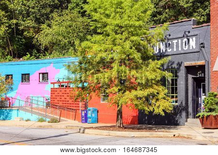 Asheville NC, USA - September 12: The Junction part of  buildings on Depot St in the River Arts District of Asheville NC