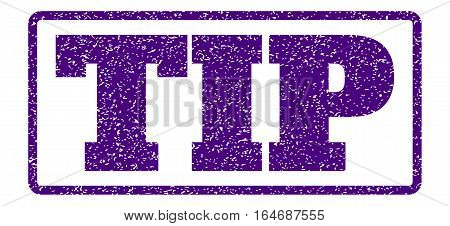 Indigo Blue rubber seal stamp with Tip text. Vector tag inside rounded rectangular shape. Grunge design and dirty texture for watermark labels. Horisontal emblem on a white background.