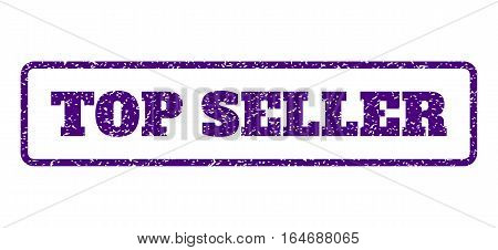 Indigo Blue rubber seal stamp with Top Seller text. Vector caption inside rounded rectangular shape. Grunge design and unclean texture for watermark labels. Horisontal emblem on a white background.