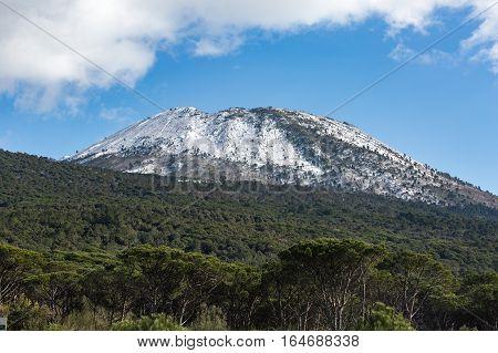 Wintry panorama of Vesuvius mount with snow